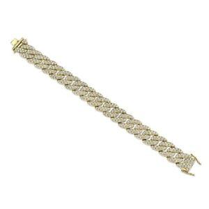 Diamond-Pave-Chain-Bracelet-14K-Yellow-Gold-Cuban-Link-8-32TCW-Round-Cut-Natural
