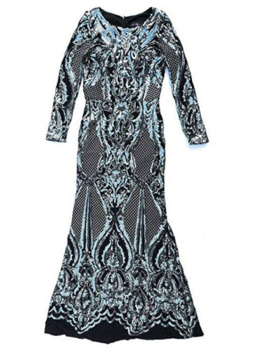 New Betsy /& Adam Women Sequin Placement Dress with Long Sleeves Black Sz 4