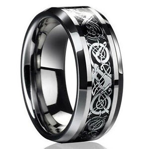 2016-Men-039-s-Silver-Celtic-Dragon-Titanium-Stainless-Steel-Wedding-Band-Rings-Gift