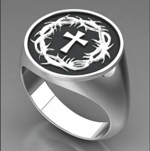 Sterling Silver Crown of Thorns /& Cross Ring