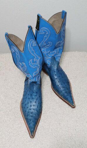Men's Ostrich Blue Cowboy Boots - BOTAS EL MALCREA