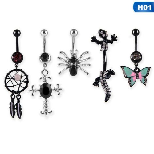 Beach Belly Button Bars Navel Bar Rings Crystal Gem Balls Surgical Steel 5 PACK