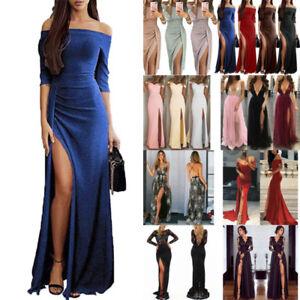 new style 061b8 ed3c8 Dettagli su Donna Diviso Sera Festa Abito lungo Formale Cocktail Vestito da  Festa Vestiti