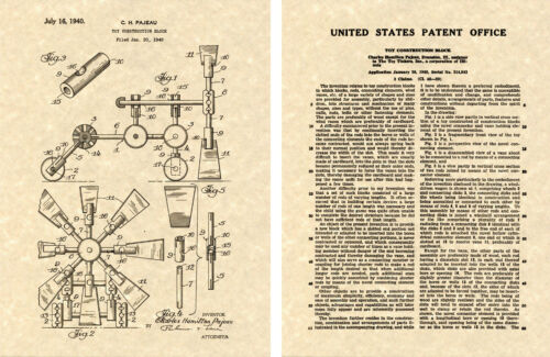 Vintage Building Toys 1940 Tinker Toy US Patent Art Print READY TO FRAME!