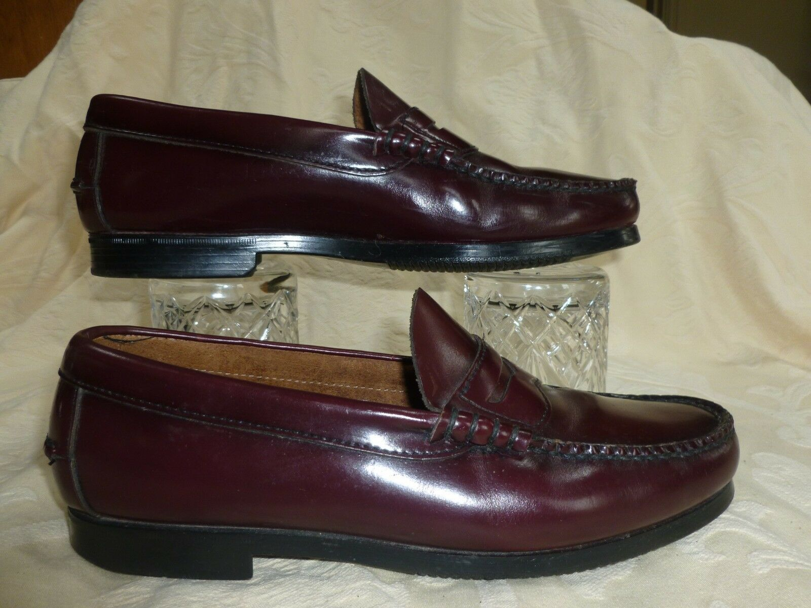 DEXTER BURGUNDY LEATHER LOAFER  SLIP ON   SIZE UK 7.5M   USA 8.5M MADE IN U S A