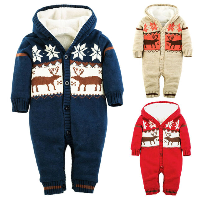 Newborn Baby Boy Girl Xmas Winter Warm Romper Jumpsuit Bodysuit Clothes Outfits