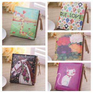 Women-Cartoon-Leather-Small-Wallet-Card-Holder-Zip-Coin-Purse-Clutch-Handbag