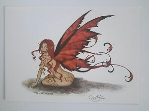 Details about Sassy Redheaded nude FAIRY Earth Faerie POSTCARD Faery ART  PRINT BY AMY BROWN