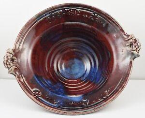 Belle Couleurs Et De Forme Art Pottery Rouge & Bleu Bol Signé Kenne???-afficher Le Titre D'origine Ncsinzw1-07231006-810680783
