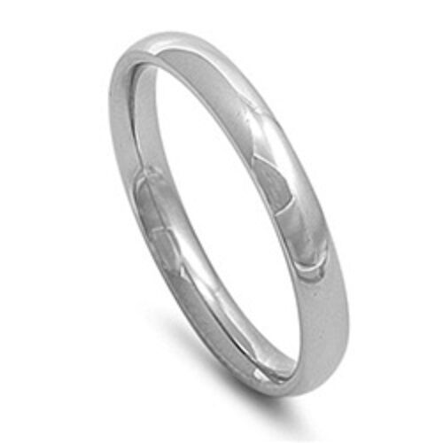 Silver Stainless Steel Plain Wedding Band 3mm Ring Plus Size 10 11 12 13 T V X Z