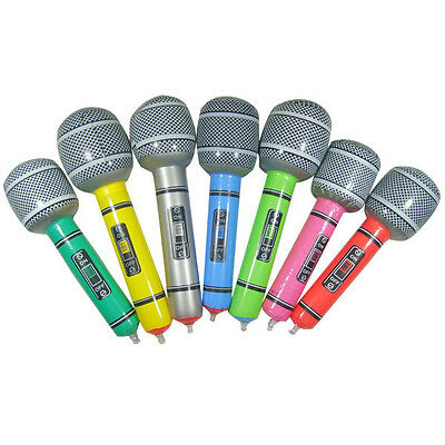 New Inflatable Microphone Blow Up Singing Party Time Rock Toy Children
