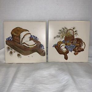 Vintage-Ceramic-Tile-Kitchen-Trivets-Wall-Hanger-Wheat-Bread-Motif-Pattern-6