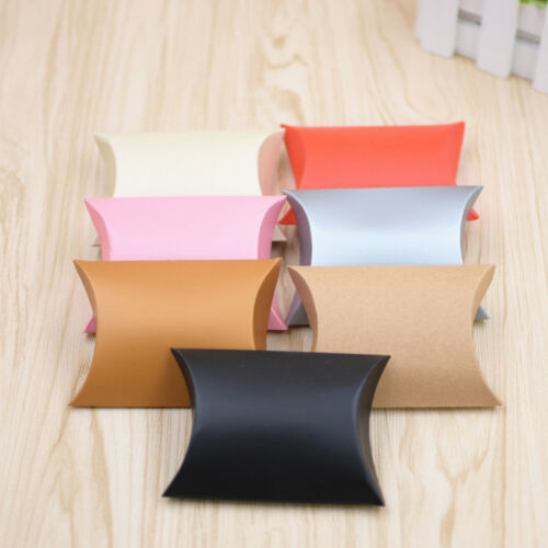 50x Craft Paper Bags Pillow Box Gift Cake Bread Candy Wedding Party Favor Bag vf