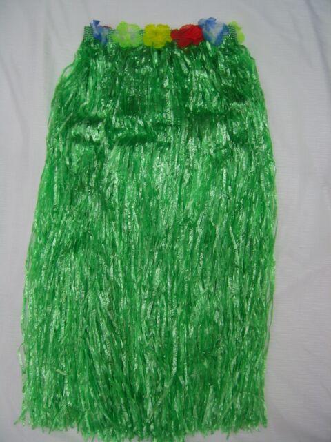 Green 80cm Long Hawaiian Skirt Hula Grass Luau Costume Beach Pool Party Tropical