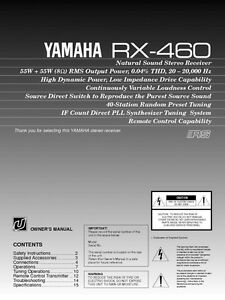 yamaha rx 460 receiver owners manual. Black Bedroom Furniture Sets. Home Design Ideas