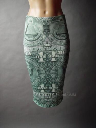 Sale Dollar Bill American Money Novelty Print Stretch Pencil 76 mv Skirt S M L