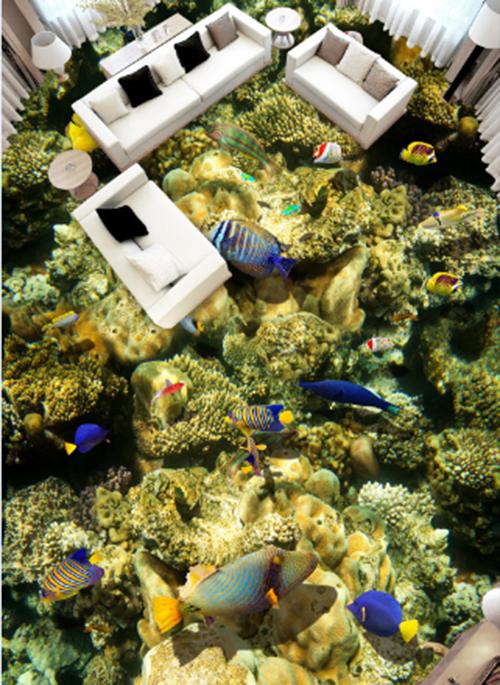 3D Grün sea fish 012 Floor WallPaper Murals Wall Print Decal 5D AJ WALLPAPER