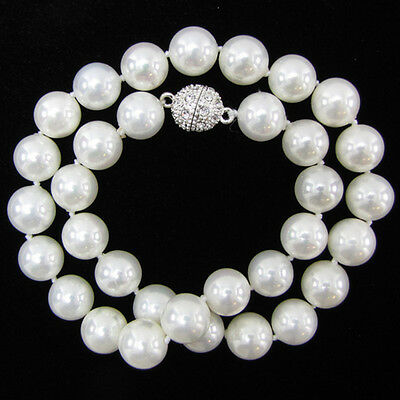 """8mm 10mm 12mm 14mm Natural White South Sea Shell Pearl Necklace 18""""AAA+"""
