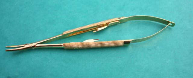 "Micro Gold Castroviejo Needle Holder Curved 7"" Dental Surgical Instruments CE."