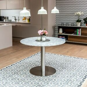 Details About New Carrara Marble White Round Dining Table Chrome Polished Steel Sets