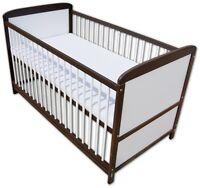 Babybett Kinderbett Juniorbett 2 in1 Umbaubar 140x70 Braun Weiß mit Matratze Neu