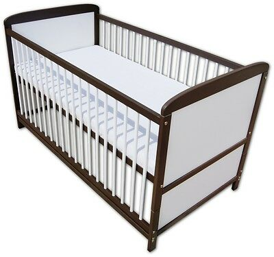 Babybett Kinderbett Juniorbett 2 in1 Umbaubar 140x70 Braun Weiß Neu