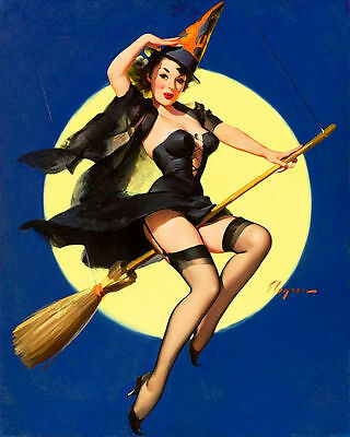Witch PUB BAR PIN UP GIRL SHABBY CHIC  Retro ENAMEL METAL TIN SIGN WALL PLAQUE