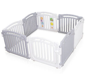 Baby-Plastic-Playpen-Room-Divider-3in1-Play-Gate-Large-8-Panels-White-Grey-PP02G