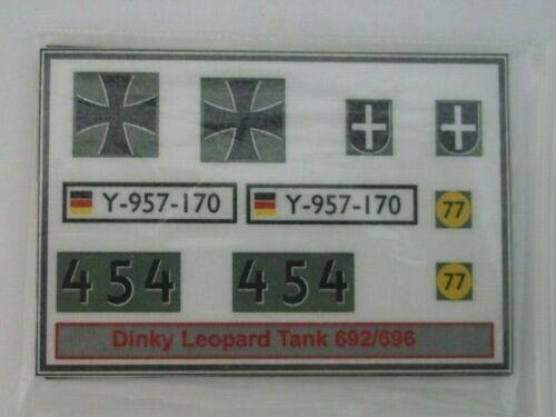 Dinky Leopardo Tanque Pegatinas 692//696