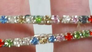 2-PRONGED-RHINESTONE-RAINBOW-METAL-STRETCH-BRACELET-MULTI-COLOR-7-034-DAINTY-1-8-034-W