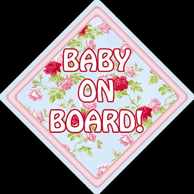 100% Vero Baby A Bordo Cartello Ck Floreale Auto Finestra Aspirazione Segnale Di Sicurezza- Dolorante
