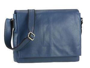 Sac-a-Bandouliere-en-Cuir-Flapbag-L-Hommes-Femmes-Bleu-Greenburry