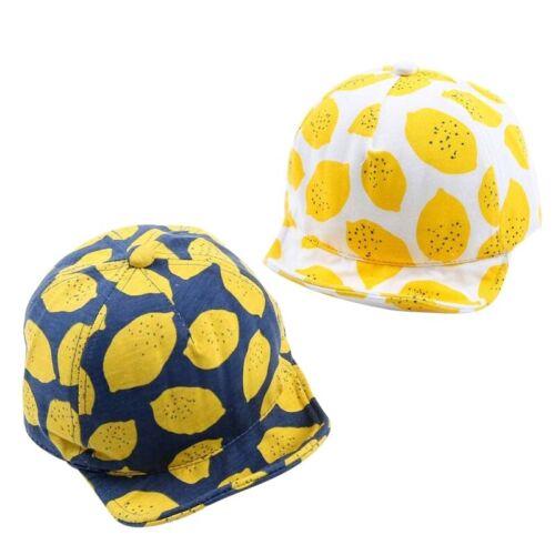 Cute Lemon Print Baby Boys Girls Summer Caps Cotton Children Hats With Soft Brim