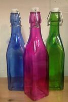 10.5 Square Glass Bottle With Swing Top. 5 Assorted Colors