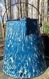 Vintage-Large-Graniteware-Blue-Enamelware-Coffee-Pot-Cowboy-NO-LID