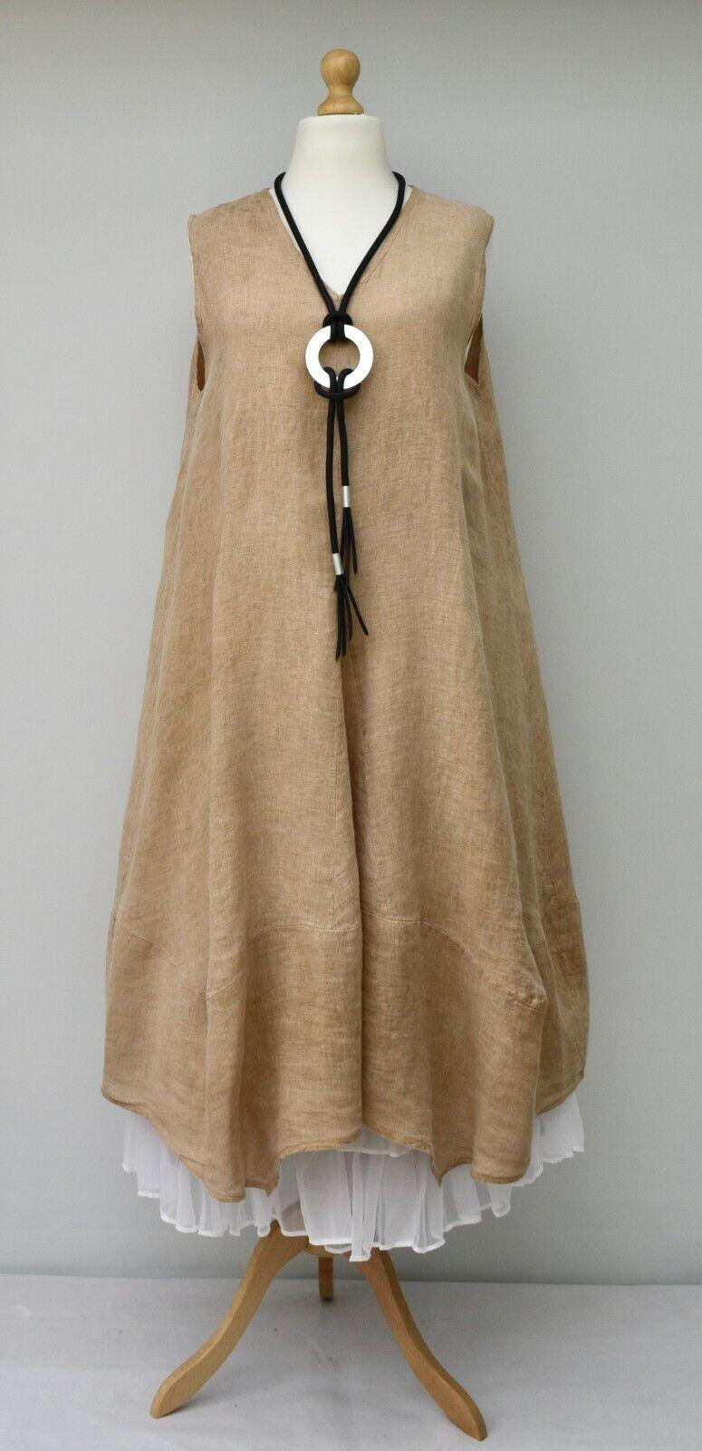 Femme Lin Italien Très Grand Uni Jupe Trapèze Long Robe Beige Buste jusque 127cm