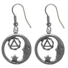 AA Alcoholics Anonymous Tropical Symbol Earrings,#864-6 Med.Size,Sterling Silver