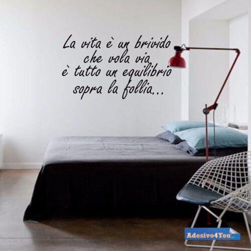 """Adesivo murale frase /""""La vita è un brivido /"""" Adesivo4You"""