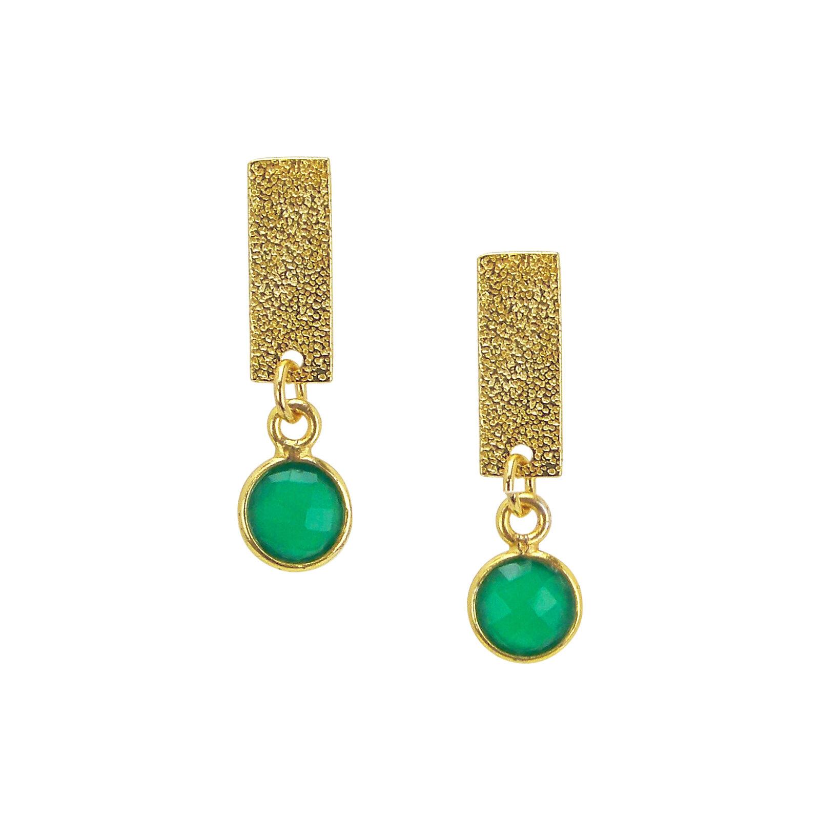Charlene K Dangle Bar and Green Charm Earrings in gold Vermeil