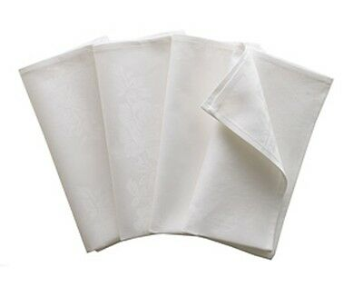 WHITE CREAM NAPKINS - TABLE LINEN - 100% COTTON - 4-PACK - MANY SIZES - BARGAIN!