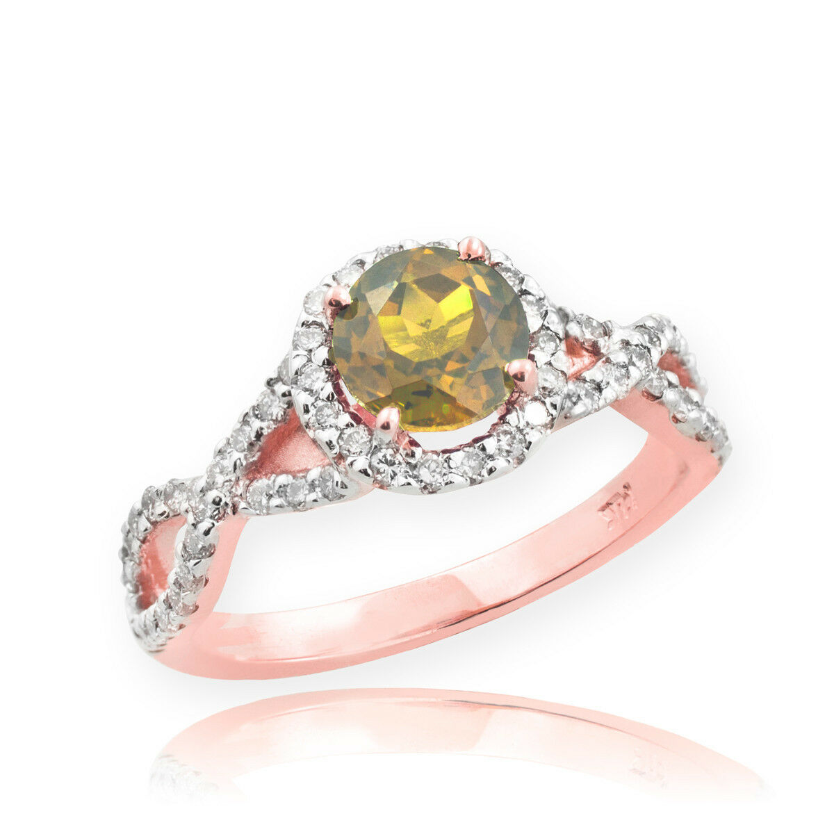 pink gold Citrine Birthstone Infinity Ring with Diamonds
