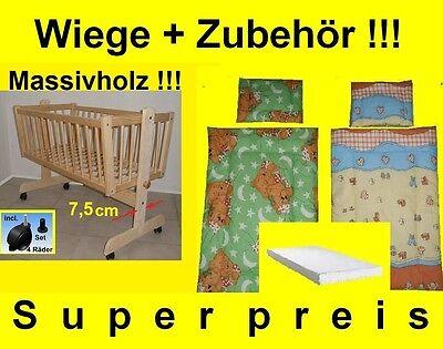 BabyWiege Stubenwagen Komplett Set Matratze Kissen Decke Massiv NEU Angebot