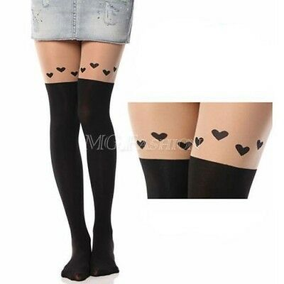 Sexy Black Cute Cat Tattoo Socks Sheer Pantyhose Mock Stockings Tights