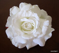 "5"" White Rose Silk Flower Hair Clip,Bridal,Rockabilly,Pin Up,Updo"