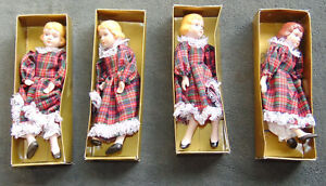 LOT-of-4-Dolls-Vintage-China-Head-Hands-Legs-Cloth-Body-8-034-Doll-Made-Taiwan-SAME