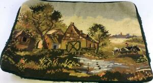 European-Countryside-Farm-Stream-Vintage-Needlepoint-Finished-Stitchery-Chalet