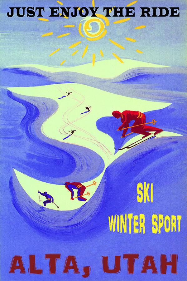 ALTA UTAH SKI WINTER SPORT ENJOY THE RIDE DOWNHILL SKIING VINTAGE POSTER REPRO