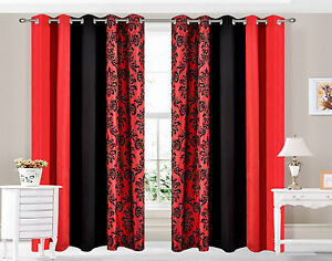 Eyelet-curtains-Ring-Top-Fully-Lined-Pair-Ready-made-curtains-DAMASK-3-TONE-RED
