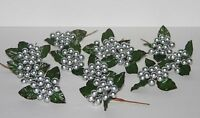 Silver Berries Balls Floral Picks Set Of 12 Christmas Stems Crafts Decorations