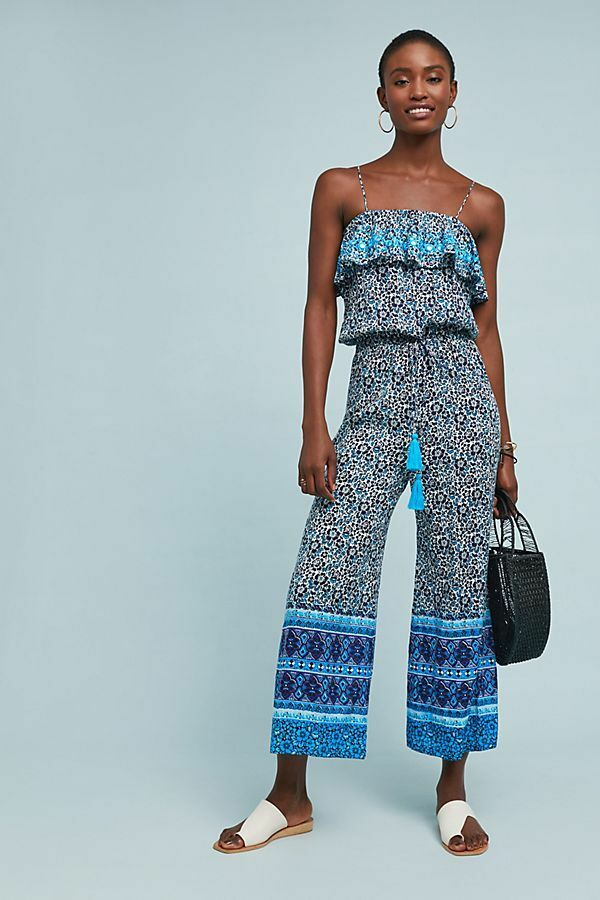 NEW Anthropologie RAGA bluee Lagoon Frill Top Jumpsuit Size Medium MSRP  128 NWT